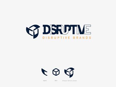 Disruptive Brands bold icon clean branding delivery brand-guidelines brand-guide disruptive negative-space-logo logo-and-branding delivery-service amazon box logo brand