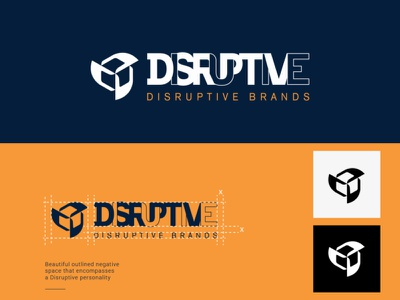 Disruptive Brands Use this for review icon clean branding experimental delivery brand-guidelines brand-guide disruptive negative-space-logo logo-and-branding delivery-service amazon box logo brand