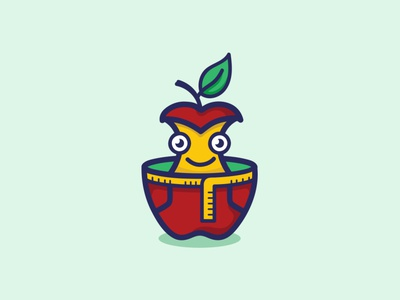 Weight Loss Apple Mascot Logo cartoon tape measure diet fitness healthy logo mascot face smiley loss weight apple health character illustration icon conceptual clean branding