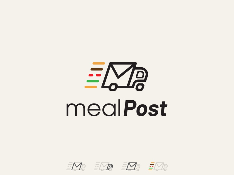 Mealpost delivery food design simple bold icon flat clean conceptual branding logo