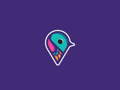Location Pin Bird location pin app animal illustration design bold icon conceptual clean branding logo