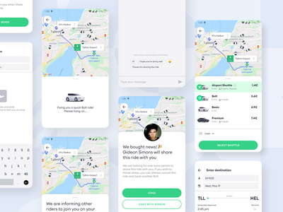 Departure Airport Shuttle Experience transfer ride map chat boarding pass uber taxi cab shuttle airport bolt food gojek grab bolt layout ui icon design illustration