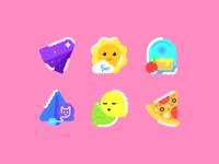 01 food pizza chat message cat plane apple backpack cloud sun pallette flat outline stroke theme icon
