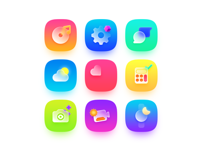 II app theme ui icon star watch video camera calculator health heart cloud sun weather chat message gear settings note music