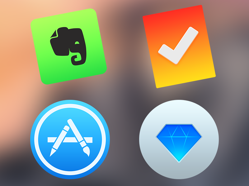 Dock icons evernote clear app store sketch app icons yosemite mac os x set color