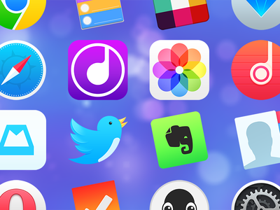 Replacement icons os safari photo music mailbox twitter evernote contacts clear yosemite mac icons