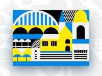 Tallinn design umbrella church bridge bell shape vintage geometric candy tin box