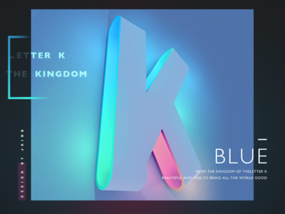 Letter K layout beautiful shadow and light colorful gradient design c4d 3d