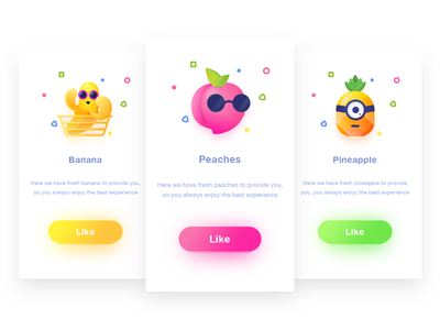 Fruit  Pages shadow illustration card ui design green yellow pineapple peaches banana page fruit