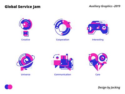 Auxiliary Graphics geometric figure geometric figure purple color space icon flat design