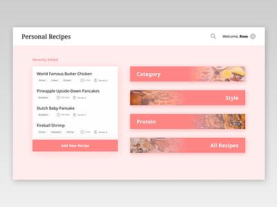 Personal Recipes ui web design clean minimal website
