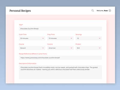 Personal Recipes - Adding Recipe Form minimal clean uiux ui web design