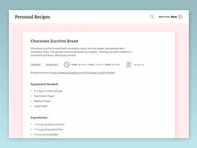 Personal Recipes - Individual Recipe recipe app uiux ui minimal web design