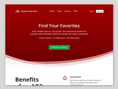 AO3 Homepage Redesign ui minimal gradients redesign homepage website