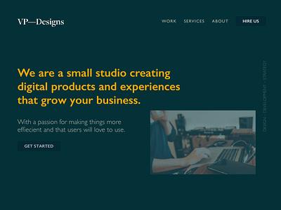 VPDesigns Redesign typography color branding web design ui ux minimal clean homepage website