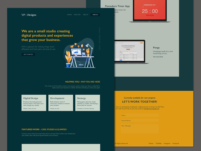 VPDesigns Redesign - v2 website typography web design homepage portfolio clean ui ux