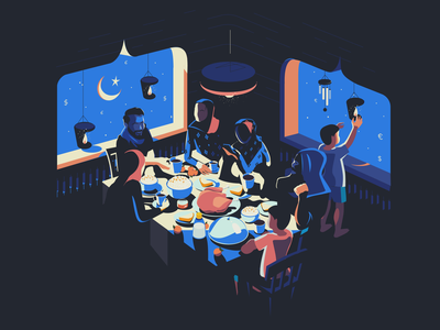 Ramadan Kareem food trading gisterson home holiday table family dinner muslim islam art isometric flat illustration ramadan mubarak ramadan kareem ramadan
