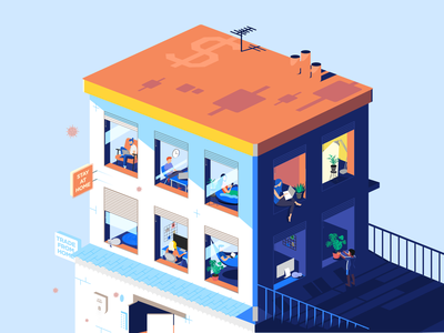 Stay at Home battle colors isolation holiday virus covid trade house art design gisterson isometry isometric flat illustration computer