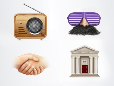 iphone app menu  museum radio mustache glasses masks friendship handshake icon illustration house building iphone gisterson friend