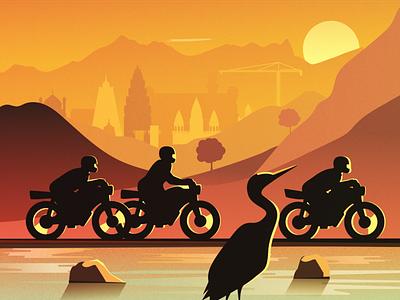 3 bikes design art background sunset flat river mountain sketch moto motorcycles india bikes bike heron