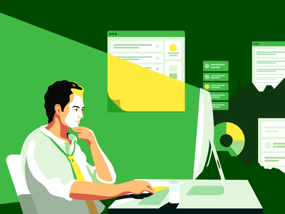 Back office trends freelance evening night write work design code mac promo art flat illustration crm forex office