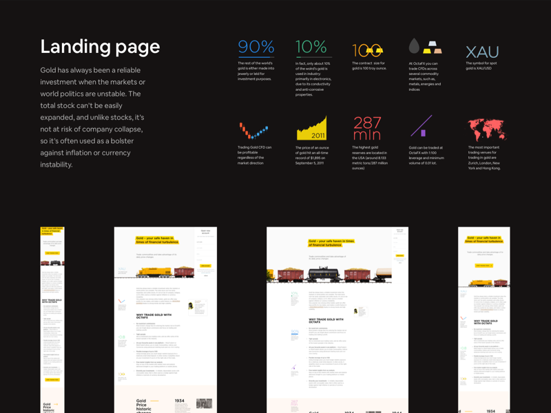 Longread Gold Trading case promo page icon ui landing illustration branding flat design new portfolio app ux-ui ux train trade trading case forex gold