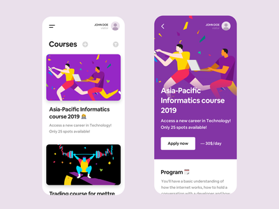 Courses App feed ios program asia flat app informatic co working teach education course courses