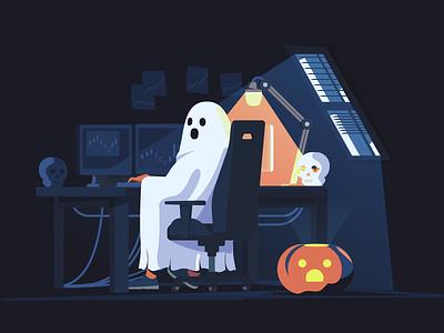 halloween freelance scull evil night colors minimal vector painting illustration forex chair ghost halloween table flat computer trade pumpkin window work