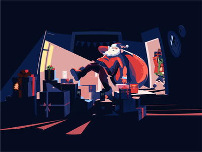 New Year 2020 is coming! holiday happy flat illustration 2020 colors contrast night room bonus gifts elf boxes design illustration flat santa santaclaus christmas new year