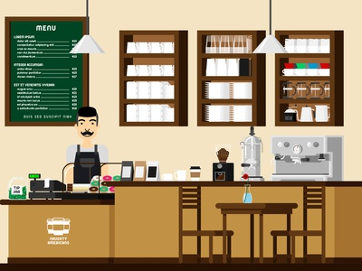 Coffee Shop flatdesign vector characters illustration drawing