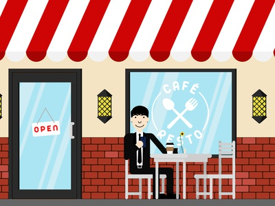 Cafe Resto flatdesign vector characters illustration drawing