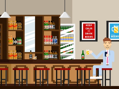 Bar flatdesign vector characters illustration drawing