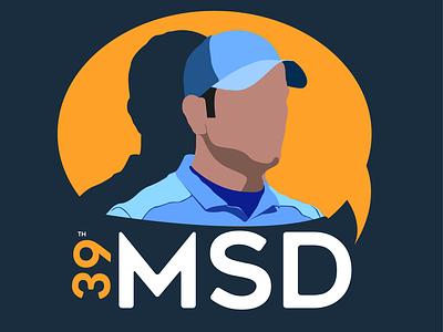 MS Dhoni design portrait vector illustration graphic design