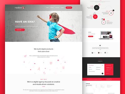 Mockup Design - Radon 5 landing page photoshop branding design ui graphic design website
