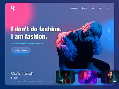 Dark Fashion - Landing Page trending glass online shopping home page shopping landing page ui branding website design graphic design