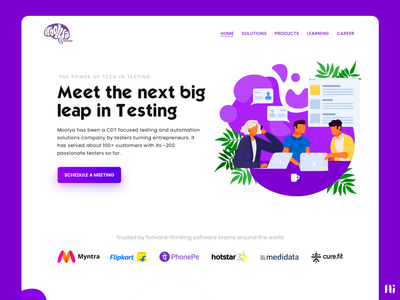 Moolya Software Testing - Landing Page vector illustration home page ui branding landing page graphic design website design