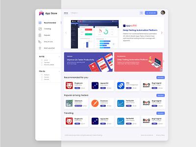 app store landing page business app store dashboad ux ui design