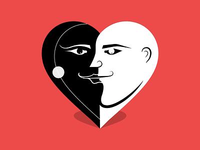 Black and white love valentines day valentine day women man dribbbleweeklywarmup heart love illustration