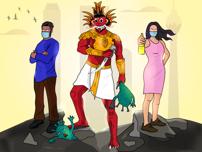 Corona Prevention - Sri Lankan YAKA art illustraion devil traditional corona prevention corona coronavirus srilanka