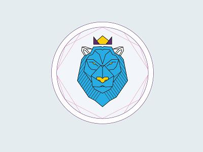 Lion no fear lion geometric illustration cup holder tea sticker mule coaster design