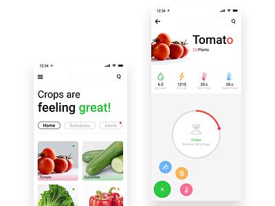 GreenIT vegitables green smarthome ui ux design minimal hydroponic iot mobile app app