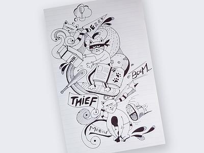 Thief Cat cat illustraion doodle drawing art