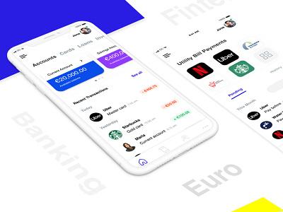 Euro Banking minimal finance app simple design fintech banking app mobile design mobile app uxdesign