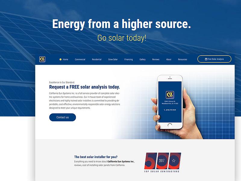 Csssolar - Energy from a higher source. desktop mobile interface 2017 flat responsive webseite
