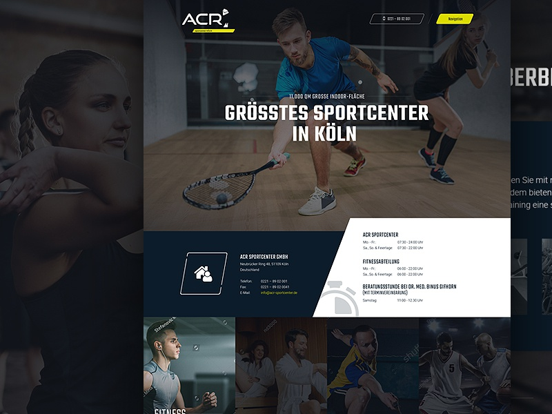 Sportcenter Cologne screendesign layout interface sport webdesign