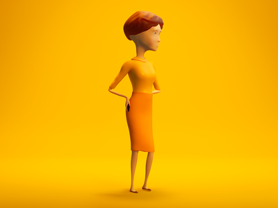 Sylvia Waiting / My Scans app ad campaign modeling rendering figure blender 3d blender yellow woman visual design retro render people orange mobile light illustration color clean character design character 3d