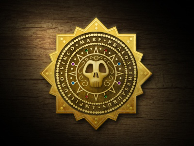 Grand Achievement for the Motleys pirate achievement badge gold skull medal treasure plate