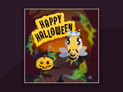 Ad for Toliti mobile game (bee, plant, flower by Monika Klobčar) adobe illustrator halloween design halloween ghosts ghost spooky pumpkin bee advertising illustration illustrator
