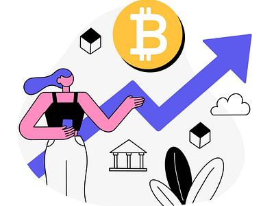 Bitcoin finance trading app illustration landing page illustration bitcoin illustration cryptocurrency web illustration uxui ux uiux ui illustration ui procreate illustration procreate onboarding illustration ipad illustration bitcoin