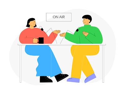 Podcast website illustration web illustration uxui ux uiux ui illustration ui support startup onboarding illustration on air landing page illustration illustration recording podcaster podcast app illustration